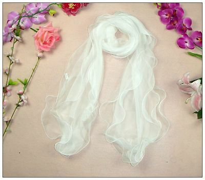 Layer Scarf - Long Silk Scarf  Three Layer White Theme 73