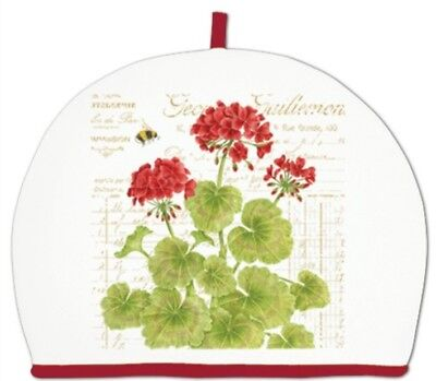 Alice's Cottage Cotton Tea Cozy GERANIUM Cosy Red Flower Made in the U.S.A. New