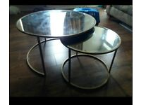Nesting gold, mirrored coffee tables