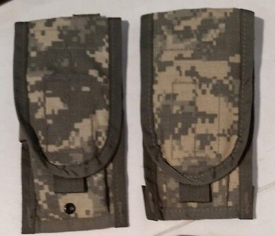 2 ea New MOLLE II ACU 5.56 Double 30 Round Mag Magazine Pouch Phone Knife
