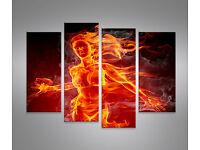 MATCHES 120x40cm 3 BILDER STREICHHOLZ ART LEINWAND FIRE