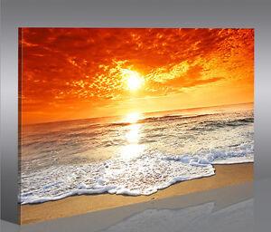 Sonnenuntergang Meer 1P Bilder Bild auf Leinwand Wandbild Kunstdruck Poster XXL