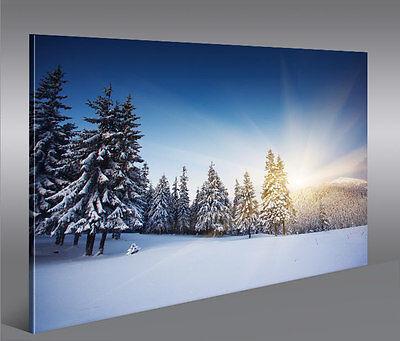 Winterlandschaft Berge 1P Bild auf Leinwand Wandbild Edel Poster Kunstdruck