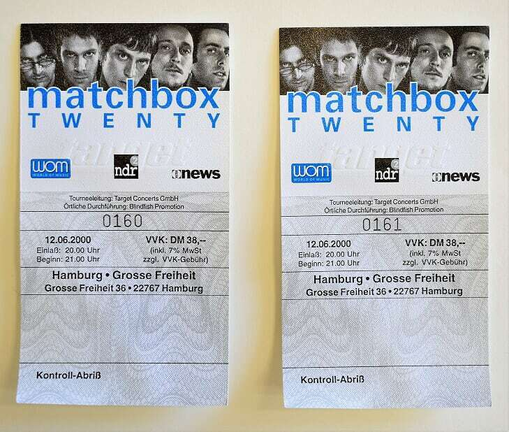 Matchbox Twenty Concert Ticket Set of Two Full Unused 2000