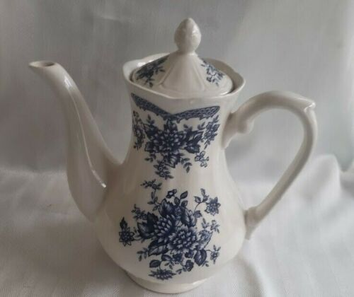 Ironstone Japan Blue Carnation Coffee Pot with Lid - Tea Pot - 9 1/2 inches high