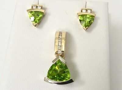 HIGH QUALITY 14k Two Tone SOLID Gold Peridot Diamond Necklace/Pendant Earrings