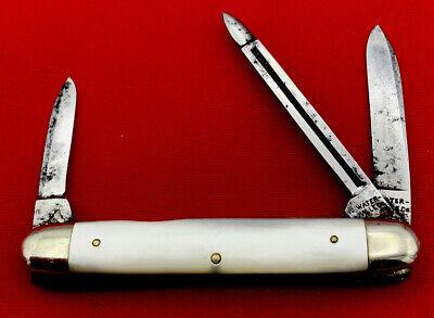 Vintage WATER-VILLE Co 3-Blade Equal End Pen Pocket Knife c.1890-1913 MOP