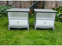 Stag Minstrel Bedside Cabinets / Tables Grey and White