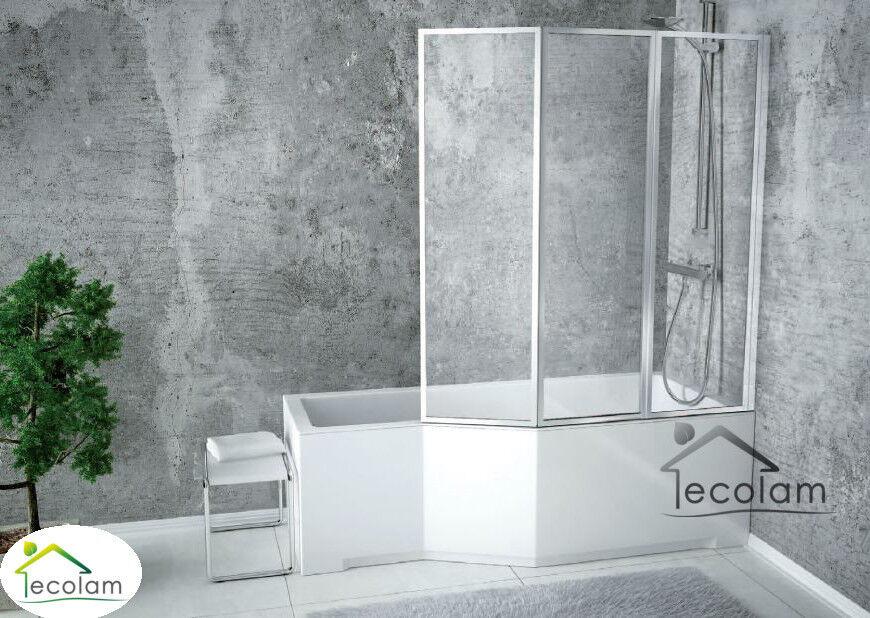 Badewanne Badewannenabtrennung Duschwand Eckwanne Rechteck 170x75 cm rechts Glas