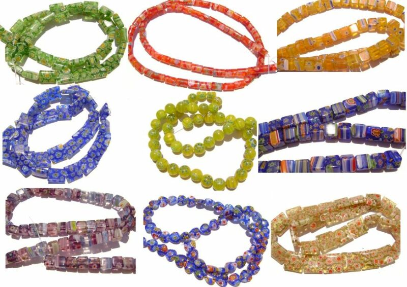 Millefiori Glass Bead Flower Red Blue Lime Mix, 15 Shapes & Colors, 15 in Strand