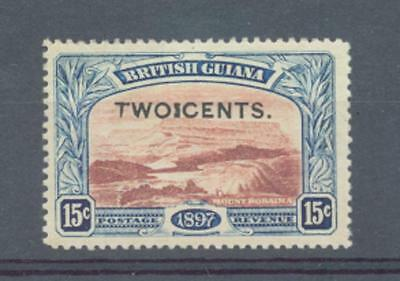 """British Guiana 1899 2c on 15c VARIETY """"I"""" between two and cents lightly MH"""