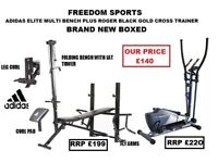 ADIDAS MULTI BENCH AND ROGER BLACK CROSS TRAINER BNB