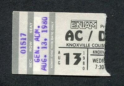 Original 1980 AC/DC Nantucket concert ticket stub Back In Black Tour Knoxville