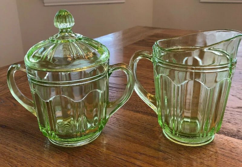 Vintage Hocking Glass Co. Cream And Sugar