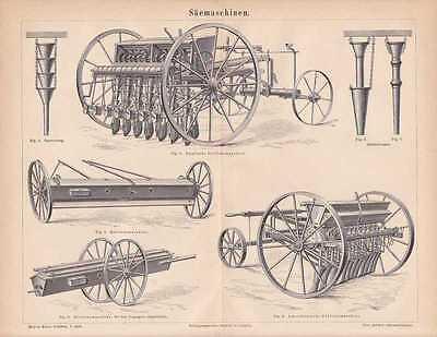 Sämaschine Drillsaat Drillmaschine STICH von 1878 Breitsämaschine Reihensaat