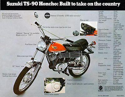 1970 Suzuki Ts-90 Hancho Sales Specs Ad/ Brochure