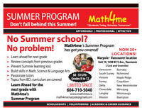 $8-$15/hr Summer Tutoring Program for Grades 1-12 (Marpole, Van)