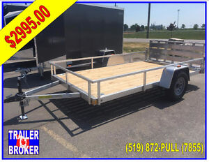 2018 All Aluminum 7 x 12 Utility trailer, Bi-fold Ramp , PT Deck