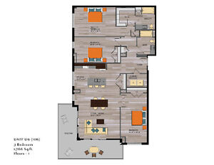 """Large 3 bedroom, top of the line finishes, a mid town """"must see"""""""