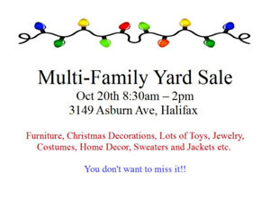 Large Multi-Family Yard Sale (Rain Day Oct 27th if applicable)