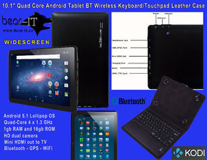 """10.1"""" QuadCore Android 5.1 Tablet BT Leather Case & MORE"""