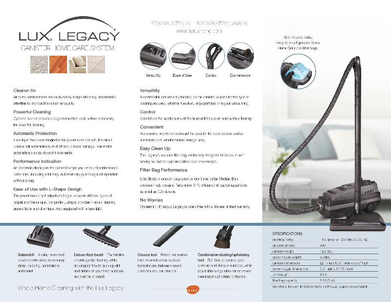 Lux Legacy Canister Vacuum By Aerus Electrolux Vacuums