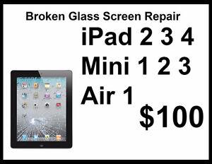 iPad 2 3 4 Air 1 Mini 1 2 3 Glass Screen Replacement $100
