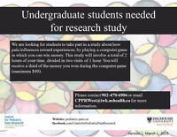 Undergraduate Students Needed for a Research Study at the IWK!