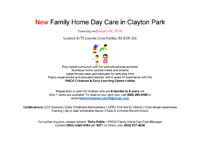 New Family Home Daycare at Clayton Park