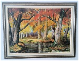 Original Marion Campbell Framed Oil Painting - Fall Scene26x35