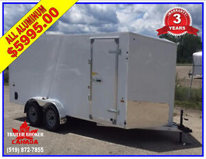 2018 7 x 14 V-Nose Cargo trailer , ALL ALUMINUM 3 Year!