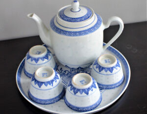 Beautiful Blue and White Rice Pattern Tea Set for 4