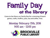 FAMILY DAY EVENT AT THE BROCKVILLE PUBLIC LIBRARY