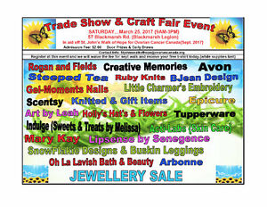 Craft and Sales Event for Ovarian Cancer