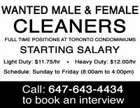 ☆ FULL-TIME & PART-TIME CLEANING JOBS IN TORONTO CONDOMINIUMS! ☆