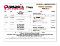 New Dance Schedule at Panamania