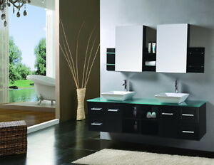 Black Wall Mounted Dual Sink Vanity set with tower cabinet