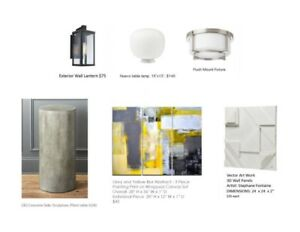 Lighting, Art and a CB2 Concrete Side table!