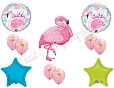 NEW!! Happy Birthday Pink Flamingo Luau Party Balloons Decoration Supplies Ocean - Pink Flamingo Decorations Supplies