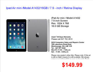 Ipad Air mini /Model A1432/16GB / 7.9 - inch / Retina Display