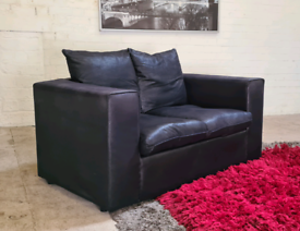 2 Seater Black Fabric Sofa - Only £70 Delivered!