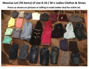 MASSIVE LOT (78 ITEMS) YOUNG LADIES SIZE M-L CLOTHES + SHOES