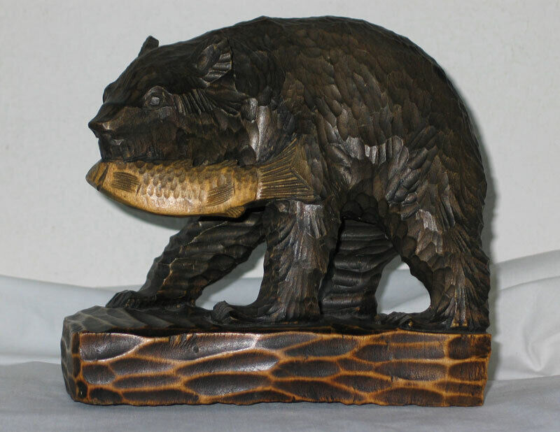 Wood Carved Bear w/ Salmon Fish - Unmarked - Japan Souvenir?