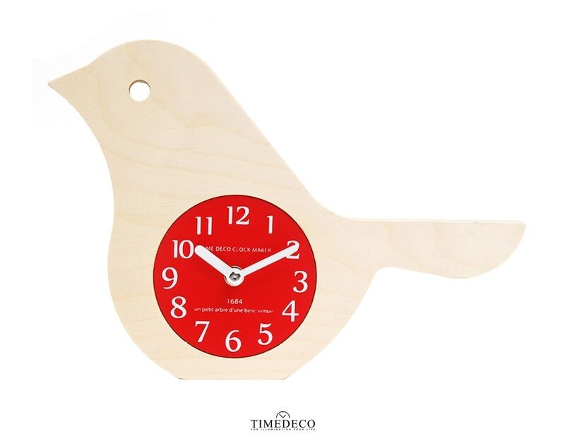 Bird Wooden Wall Clock & Table Clock Retro Art Design Home Decor Interior - Red