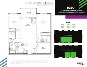 BRAND NEW AT THE JUNCTION - 2 BED + DEN, 2 BATH & 1080 SQ FT