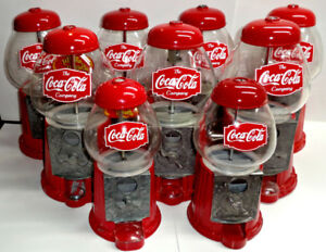 "RETRO STYLE COCA COLA GLASS/METAL MINI 9"" & 12`` GUMBALL MACHINE"