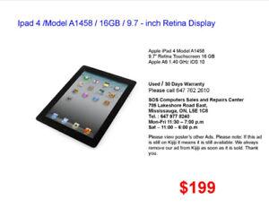 Ipad 4 /Model A1458 / 16GB / 9.7 - inch Retina Display