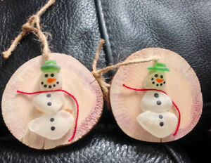 Sea Glass Christmas Ornaments and Driftwood Trees
