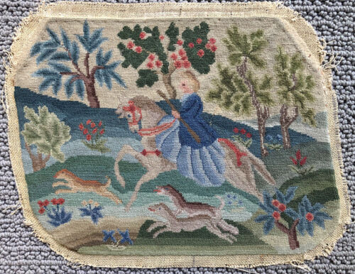 Vintage 19th Century French Petit Point Panel of Hunting Scene