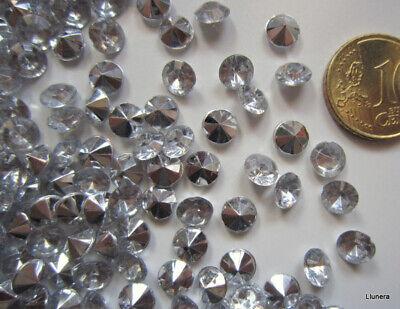 Cristal facetado diamante 6,3 mm transparente X 50 UNIDADES acrílico para pegar